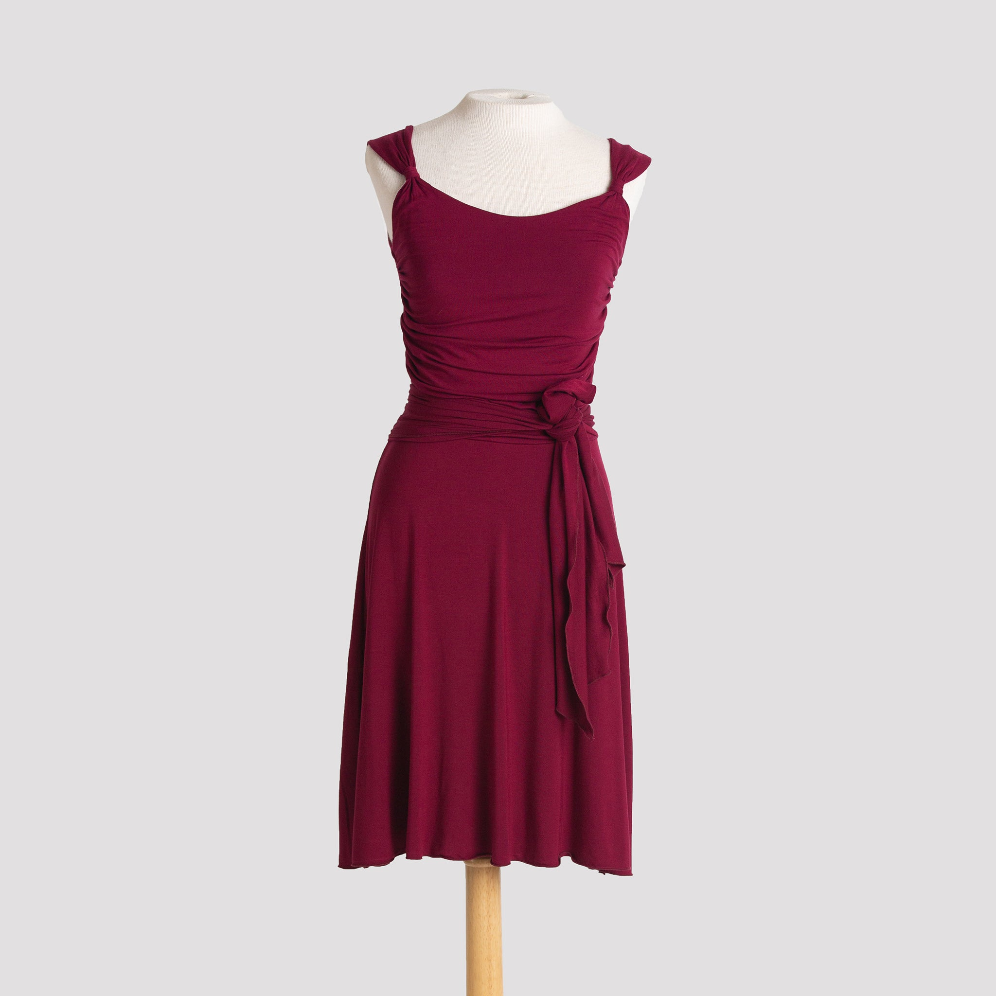 Audrey Dress in Burgundy with sash