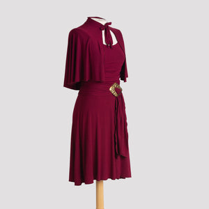 Cape in Burgundy pictured with Audrey Dress