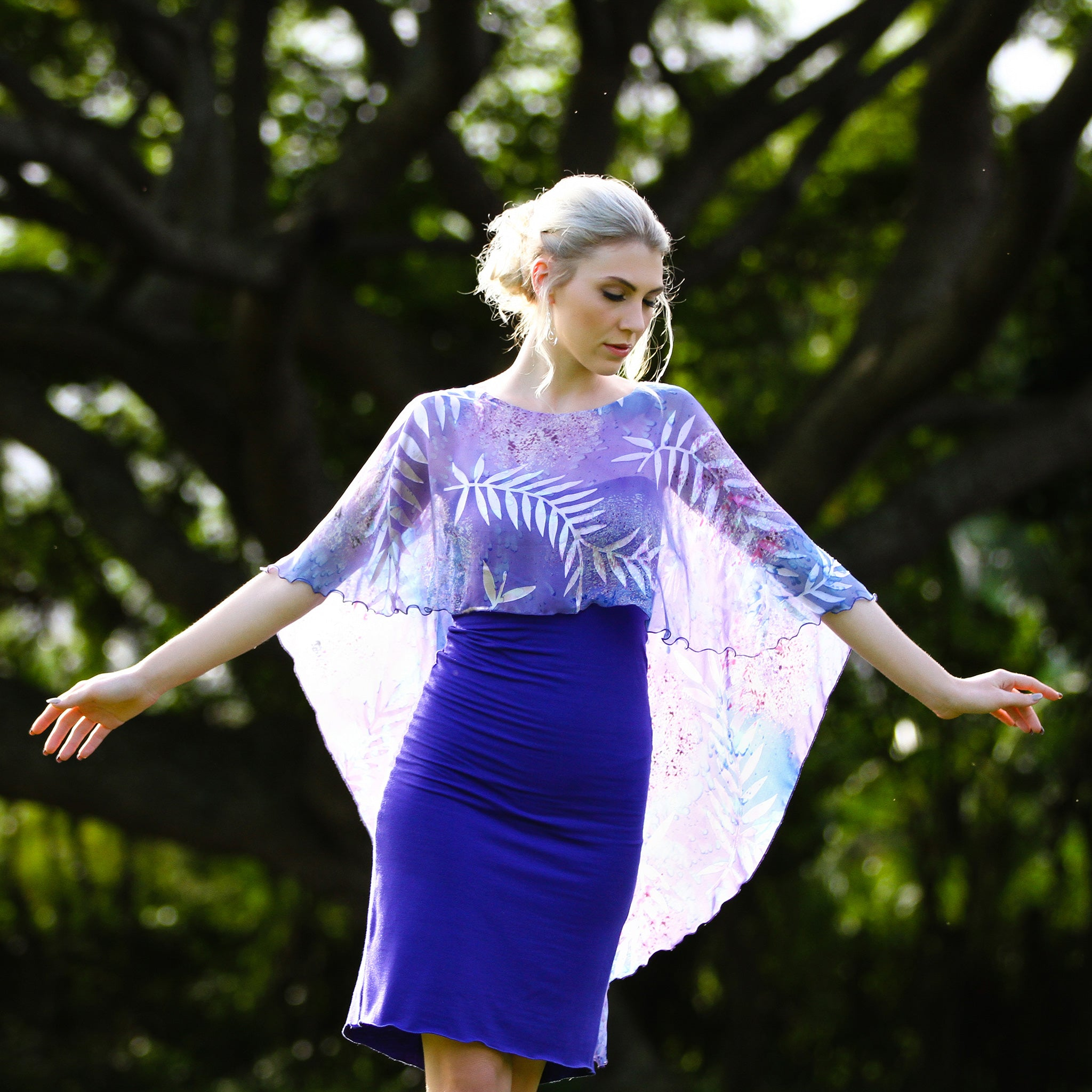 Devore Kiana Dress in Indigo & Lavender Fern Devore