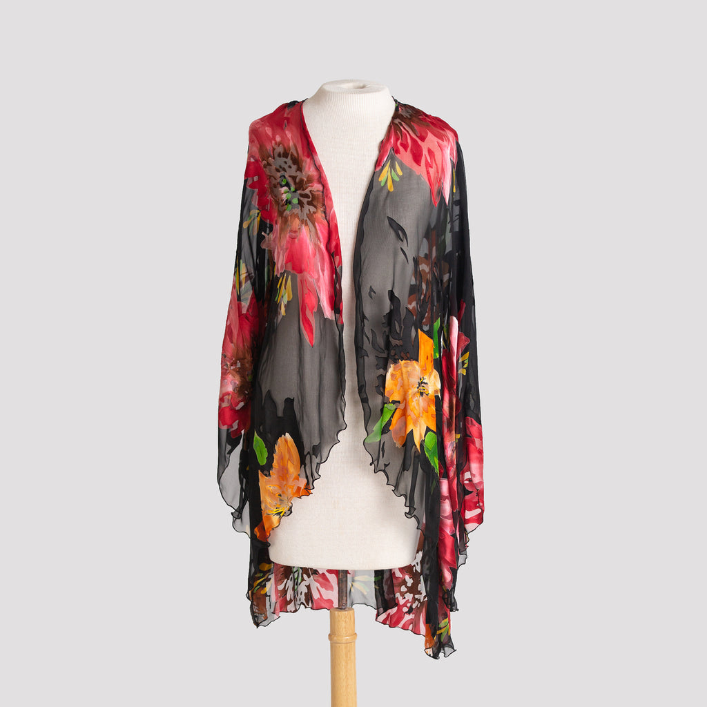 Kimono in Burgundy and Gold Floral Devore