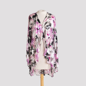 Kimono in Berry, Black, and White Floral Devore