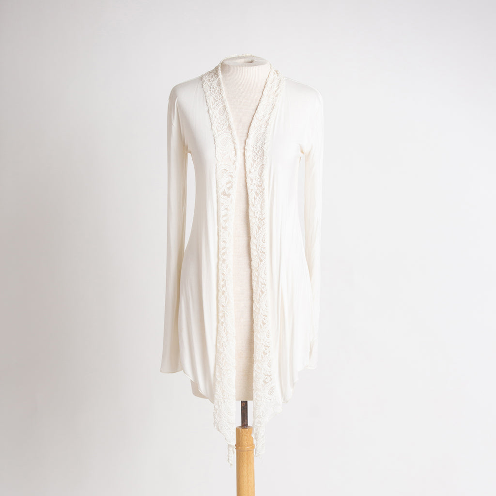 Lace Accent Cardigan in Cream