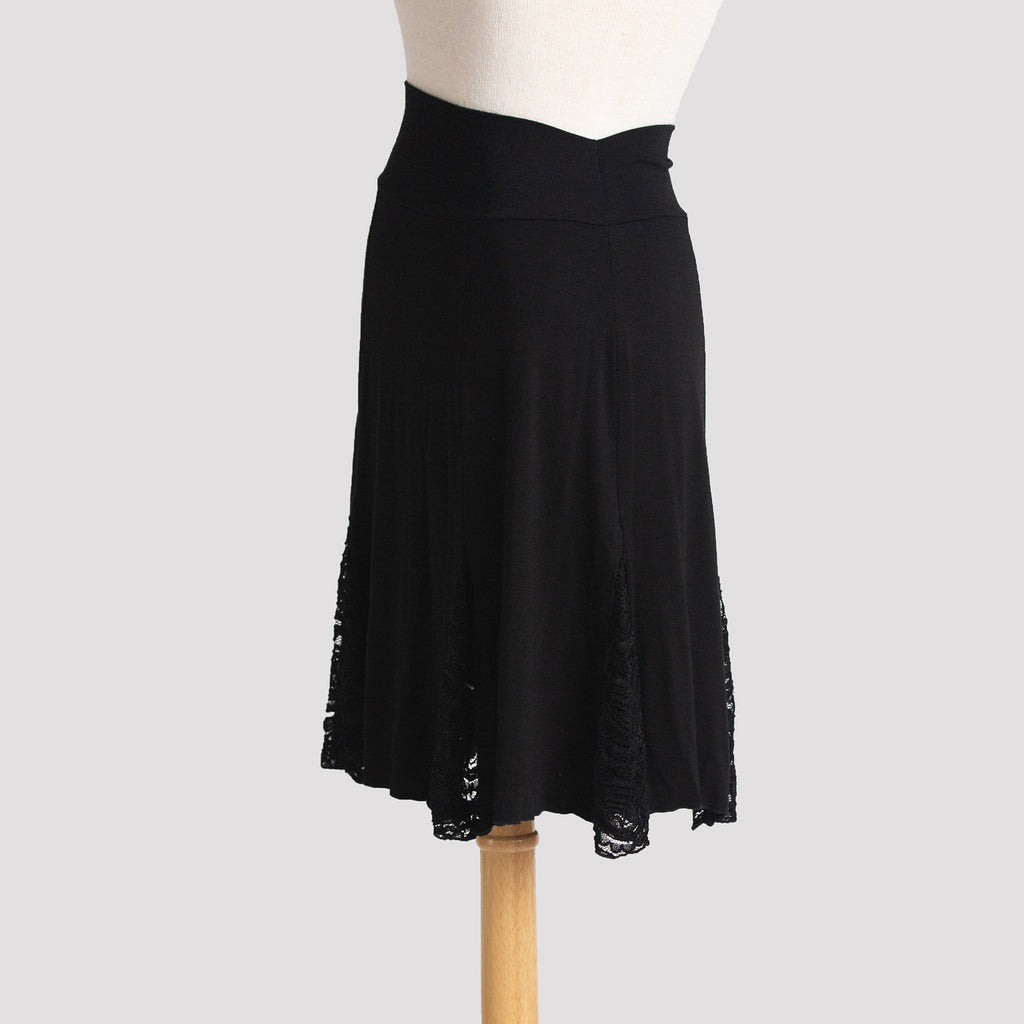 Lace Insert Skirt in Black