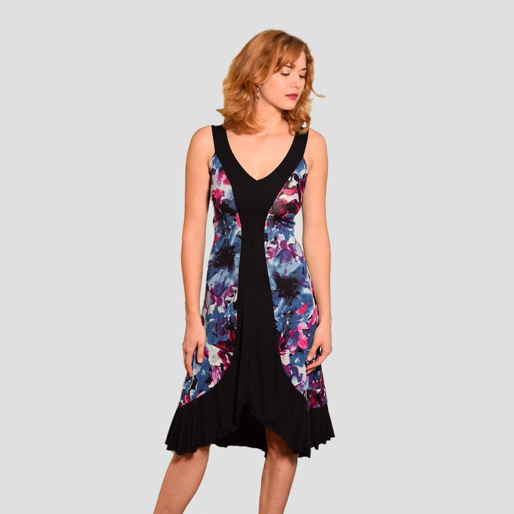 Lani Dress in Purple Watercolor & Black