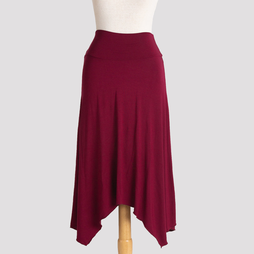 Long Handkerchief Skirt in Burgundy