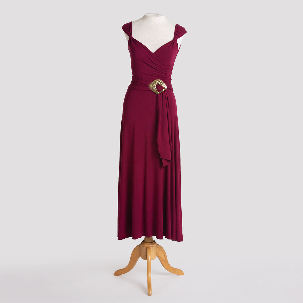 Melody Dress in Burgundy with sash & diamond buckle