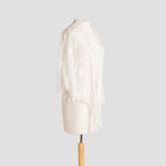 Points Jacket in White Whimsy Devore