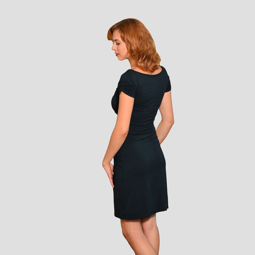 Classic Ruched Sleeved Dress in Pine