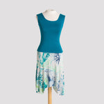 Shell Top in Green Teal, shown with Short Handkerchief Skirt