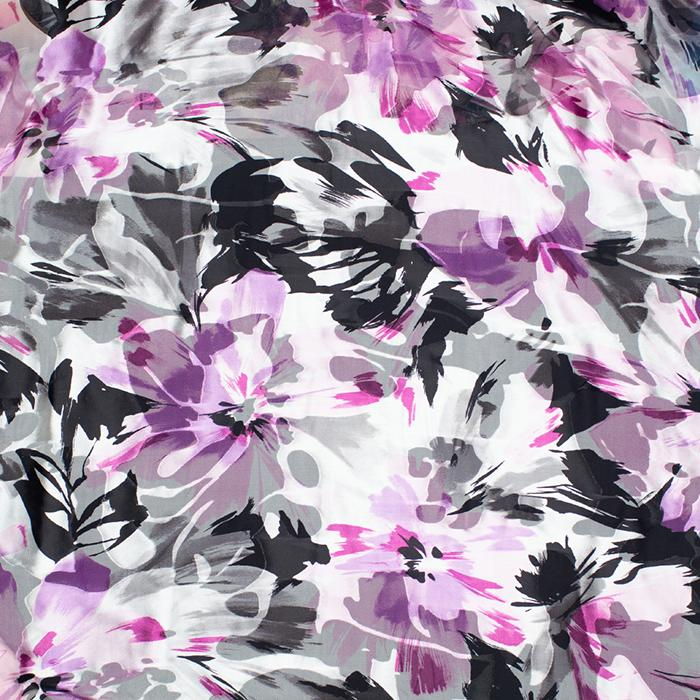 Berry Black and White Floral Devore