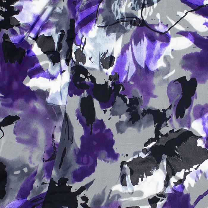 Indigo Black and White Floral Devore