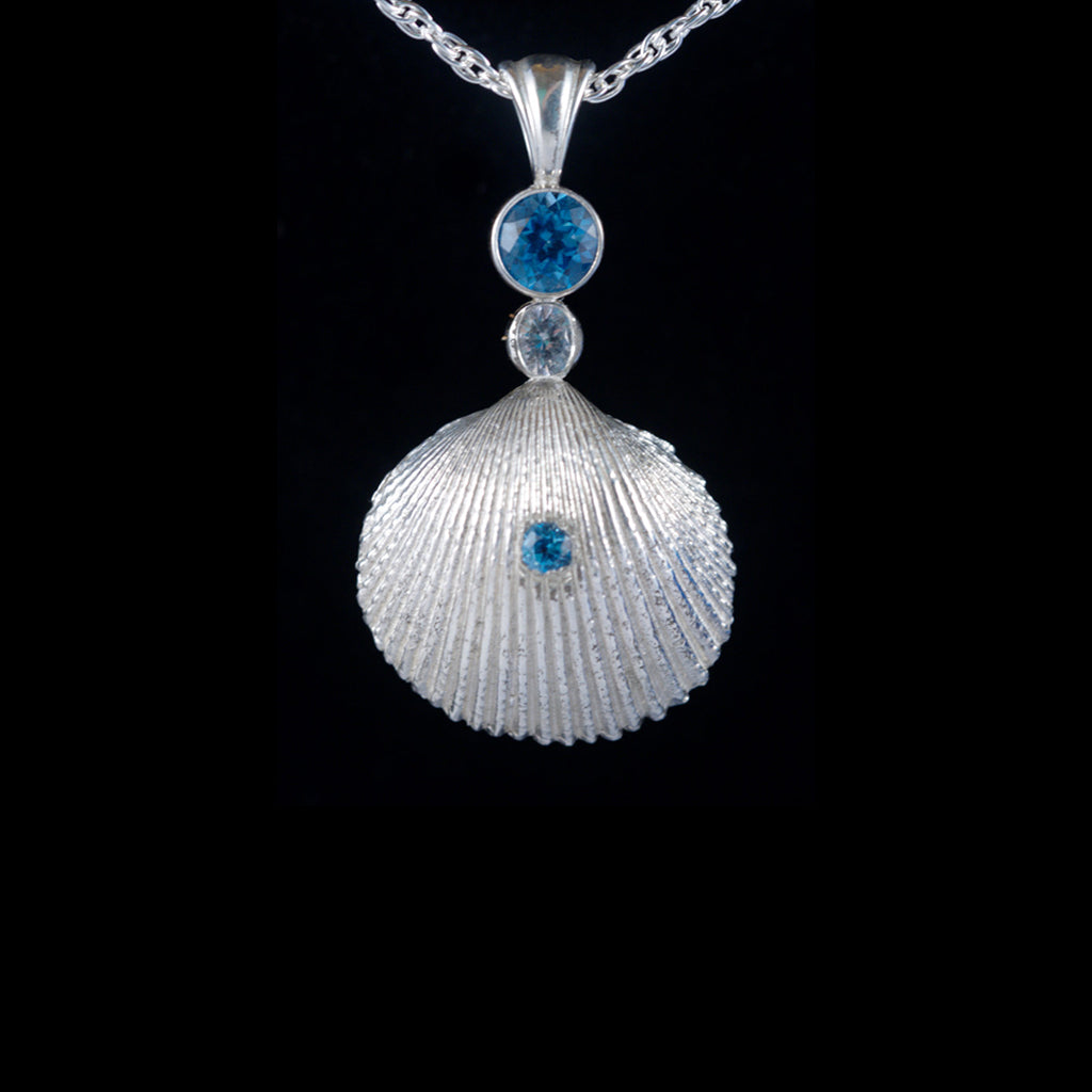 Blue Topaz & White Sapphire with Blue Topaz in Shell (Front View)
