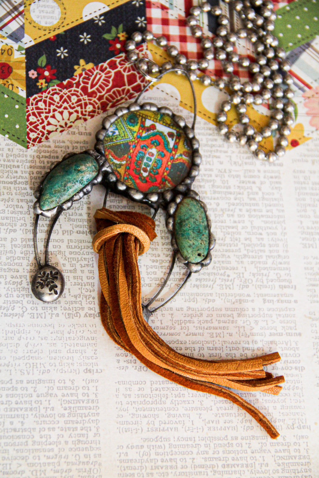 Tribal Print Naja with Turquoise and Leather Tassel Necklace