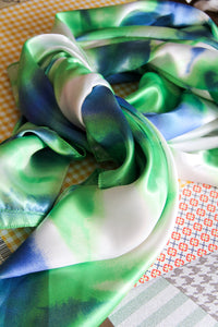 Wild Rag in Green Blue Tie Dye