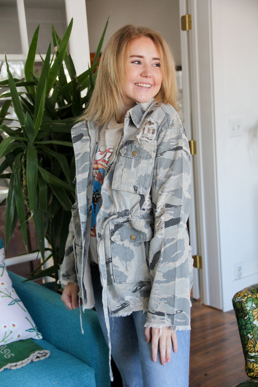 Highly Distressed Camo Utility Jacket