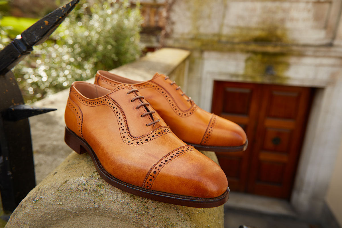Trickers burnished leather shoes