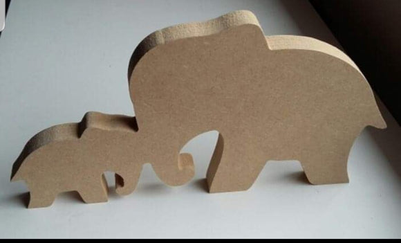 Free standing ELEPHANTS WITH HEART wooden craft shape MDF 18mm thick shape