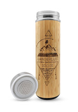 Load image into Gallery viewer, 17.9oz WANDERLUST Bamboo Water Bottle
