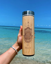 Load image into Gallery viewer, 17.9oz PEACE Bamboo Water Bottle