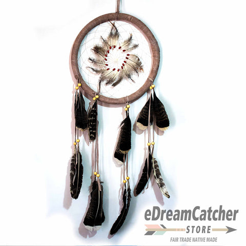 Feather Center Leather Dreamcatcher 12 inch
