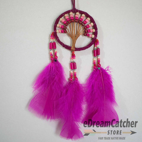 Image of Tree of Life Leather Dreamcatcher 3 inch