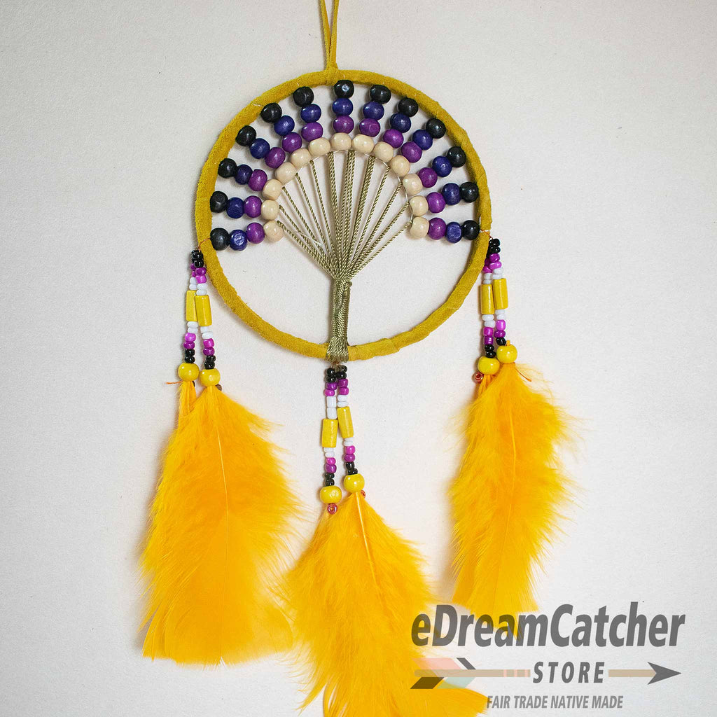 Tree of Life Leather Dreamcatcher 4 inch