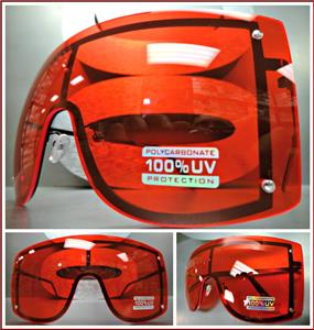 7a02796e47 Oversized Visor  Shield Style Sunglasses- Red Lens