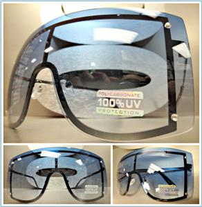8412afdcce Oversized Visor  Shield Style Sunglasses- Blue Ombre Lens