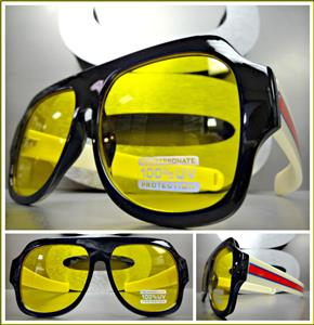 7b415ebe61 Retro Aviator Style Sunglasses- Yellow Lens  Multi Color Temples