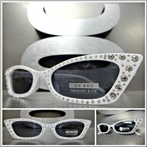 e751f06b00 Retro Cat-Eye Style Sunglasses with Rhinestones- White Frame