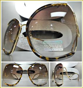 b6378802932 Oversized Upside Down Vintage Sunglasses- Tortoise   Gold