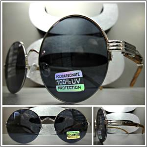 f616e4f3e Sleek Round Wooden Frame Sunglasses- Silver Detail/ Black Lens ...