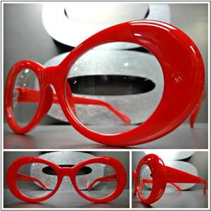 c33b2e9bff Retro Oval Clear Lens Glasses- Red Frame