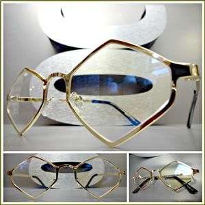 9e30b3afdf Retro Hexagon Gold Frame Clear Lens Glasses- Gold
