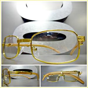 1558b67d5c Gold Metal Rectangle Clear Lens Wooden Glasses- Light Wood – SAAK ...