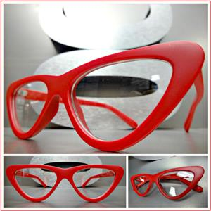 4e78c2276c Retro Style Clear Lens Cat Eye Glasses- Red