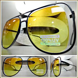 40717dd9454 Unique Frame Aviator Sunglasses- Black Frame  Orange   Yellow Lens ...