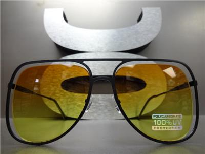 f0d31d8771e ... Unique Frame Aviator Sunglasses- Black Frame  Orange   Yellow Lens ...