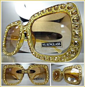 ce19454e00 Square Bling Sunglasses- Brown   Gold