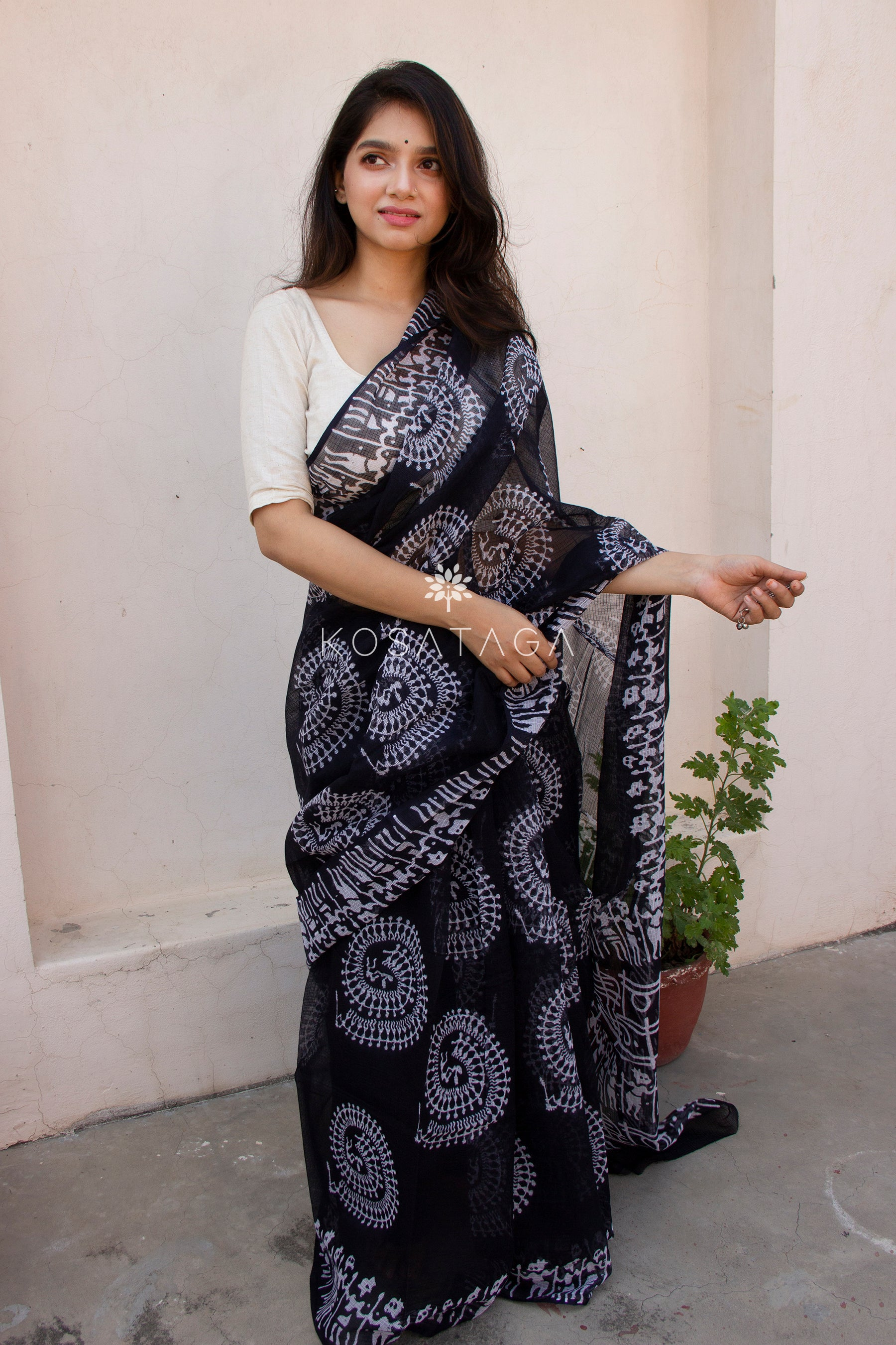 Black Kota Doria Saree