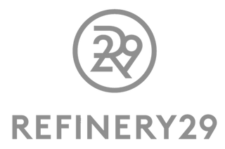 Refinery 29 logo plain text with logo in grey. Petite clothing