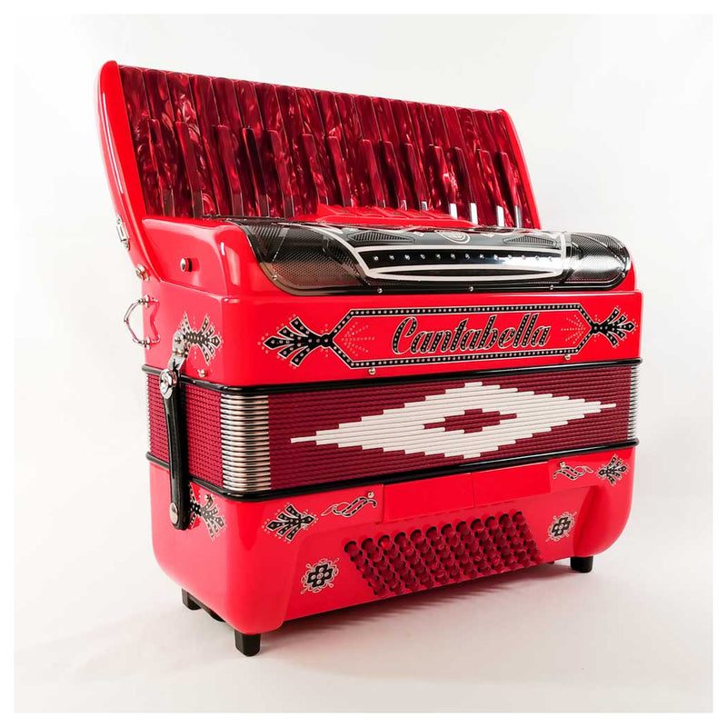 Cantabella Rey Chromatic Accordion 5 Switch Red