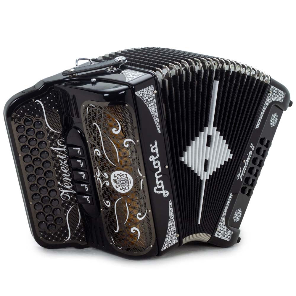 Sonola Venezia II Accordion 5 Switches GCF Black Gloss with White Designs