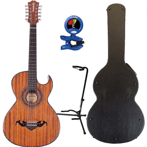 Cantabella Bajo Quinto Sapeli Wood Chrome Machinery with Hard Case, Tuner, and Stand