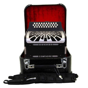 Hohner Compadre FBE Black with Gray Grill and Hard Case Bundle