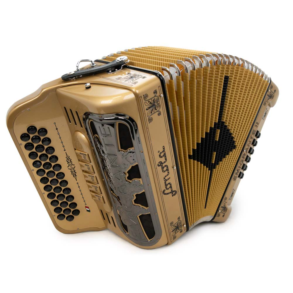 Sonola Emigrante II Accordion 5 Switches FBE Gold with Black Designs
