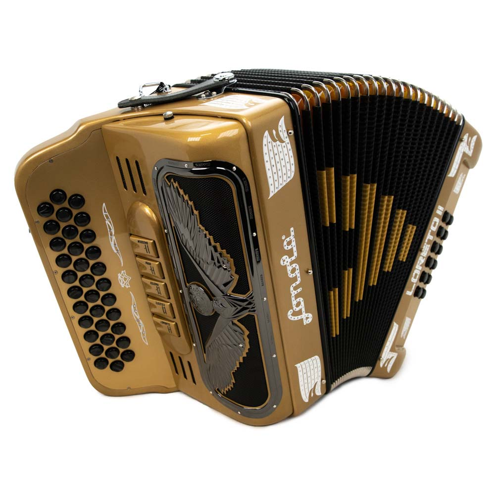 Sonola Loreto II Accordion 5 Switches EAD Gold with White Designs