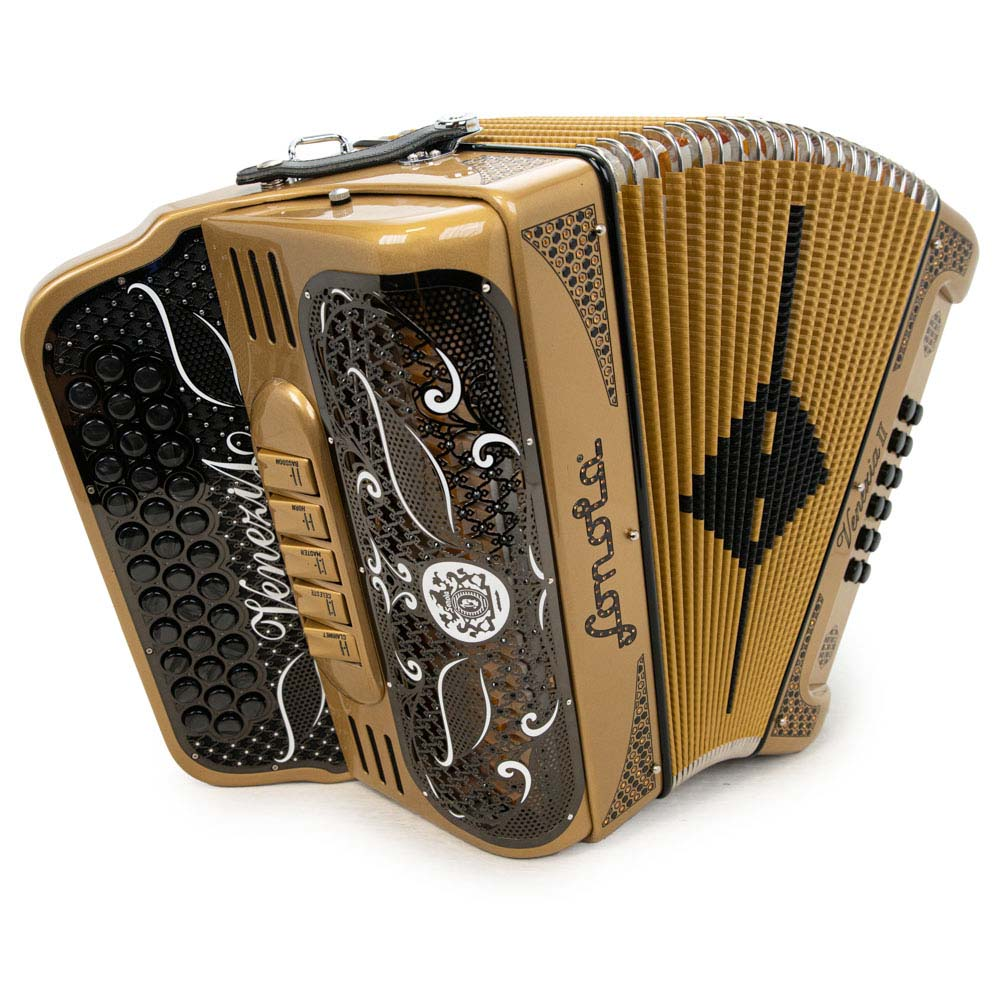 Sonola Venezia II Accordion 5 Switches GCF Gold with Black Designs
