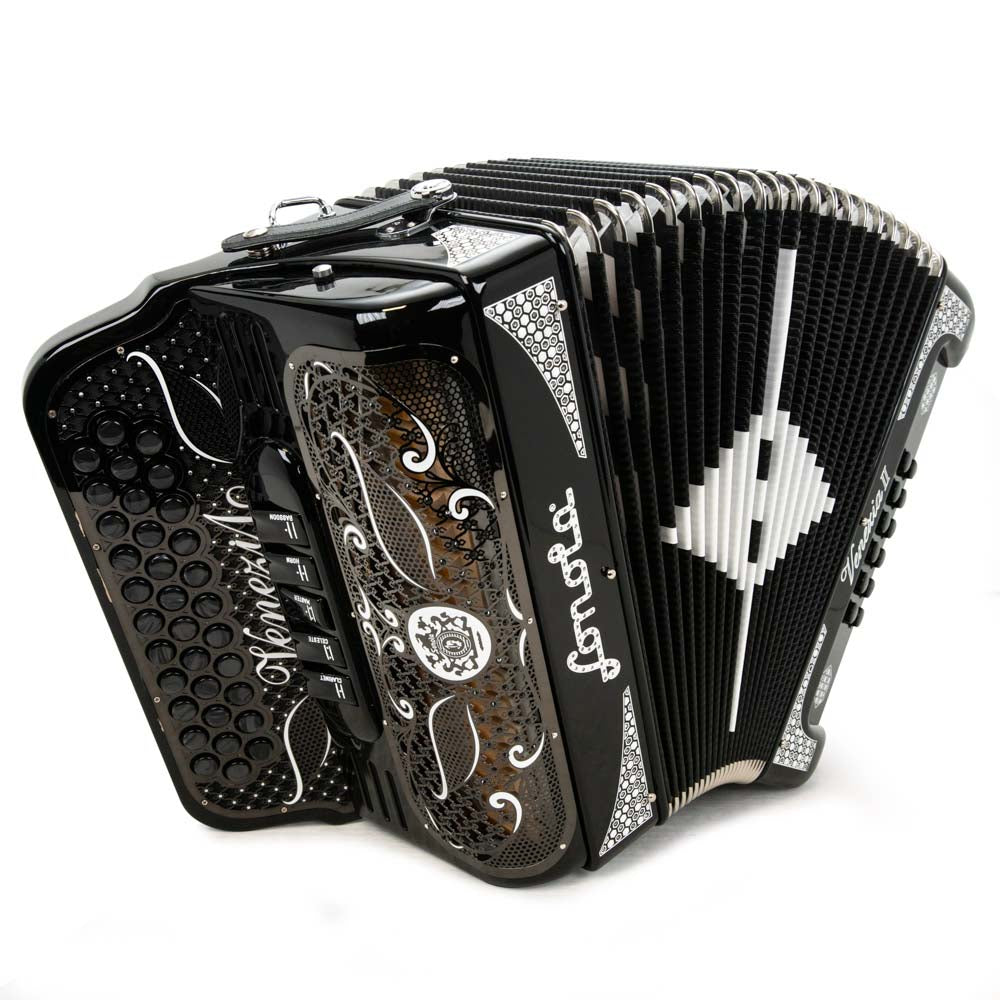 Sonola Venezia II Accordion 5 Switches GCF Black With White Designs