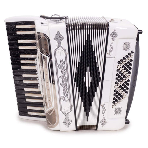 Cantabella Rey Chromatic Accordion 5 Switch White with Silver